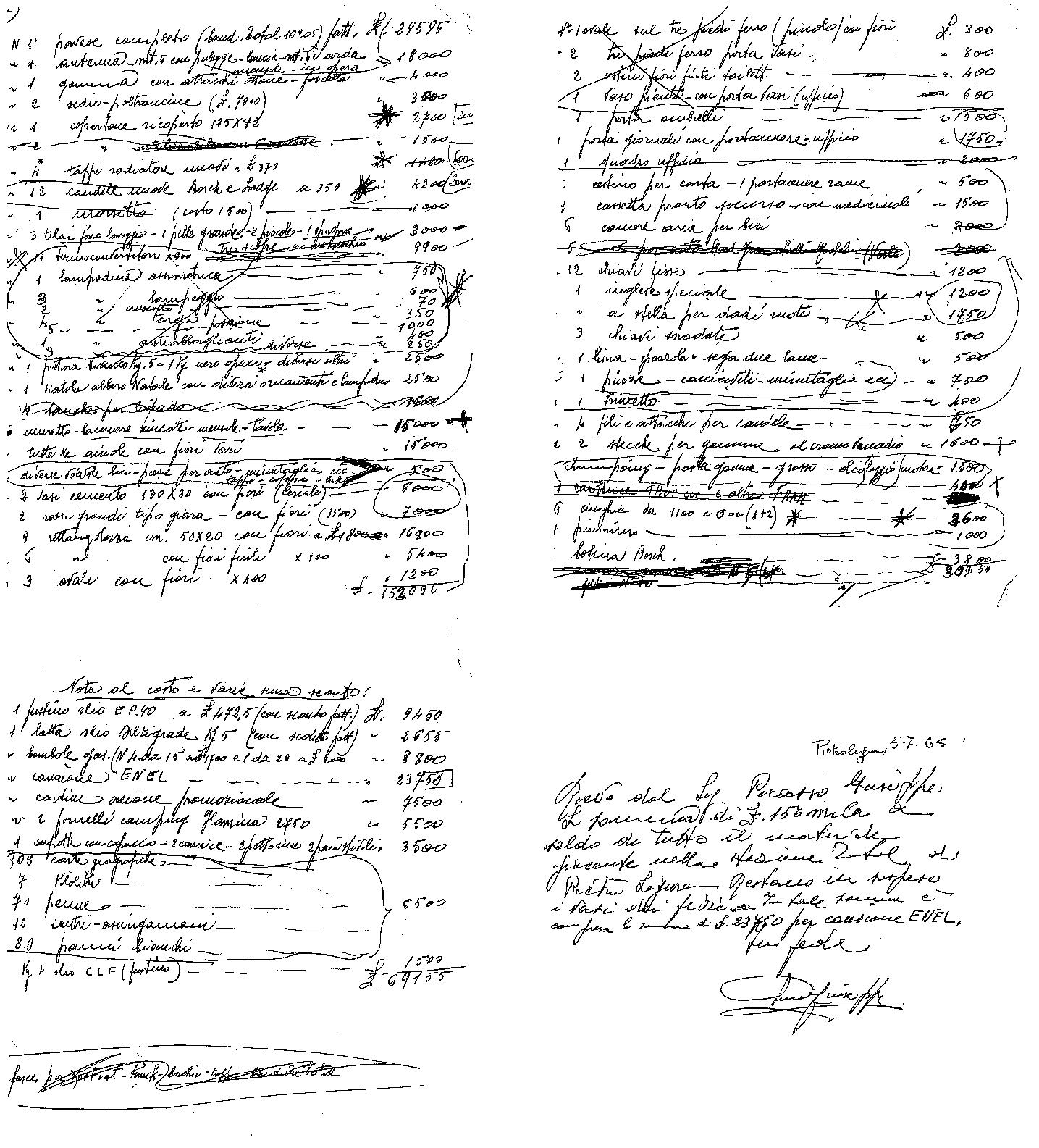 Il primo inventario 1965